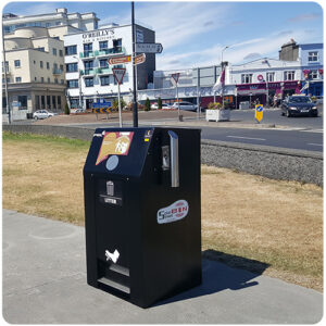 PEL Waste Reduction Equipment PEL240SSB SolarStreetBin™ IoT litter Bin on the Prom in Salthill Galway