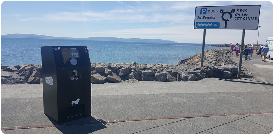 PEL240SSB IoT SolarStreetBin™ Litter Bin Installed on the Promenade Salthill Galway