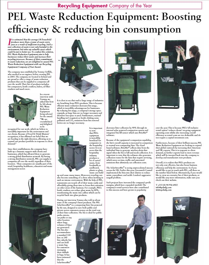 PEL Waste Reduction Equipment is Recycling Equipment Company of the Year Award 2018