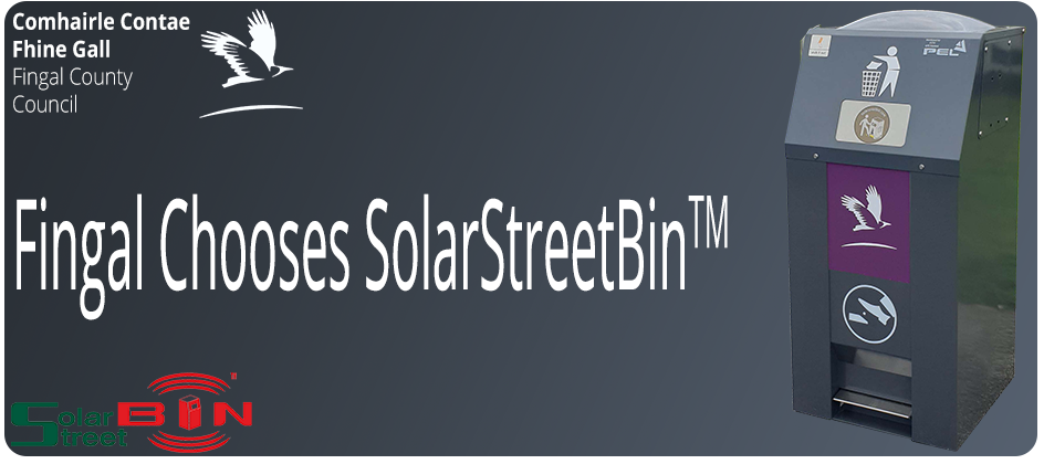 Fingal-County-Council-Chooses-SolarStreetBin-Solar-Compacting-Litter-Bin-from-PEL-Waste-Reduction-Equipment